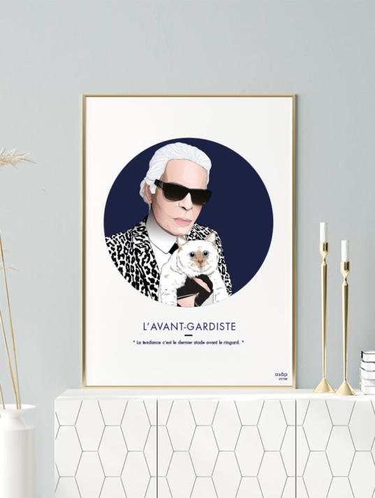 Affiche ASAP Karl Lagerfeld & Choupette Bleu