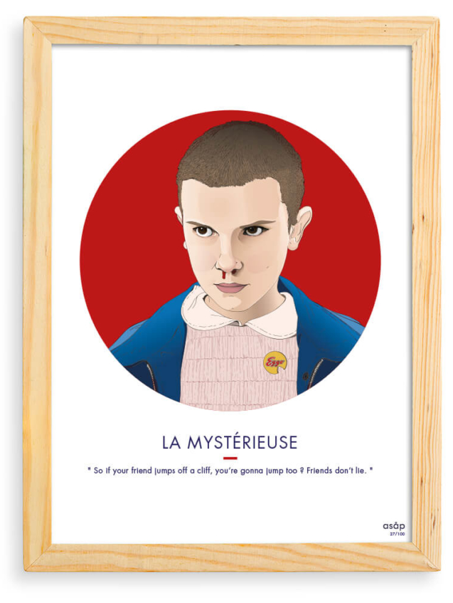 Affiche ASAP Eleven Stranger Things Rouge Citation Cadre brut