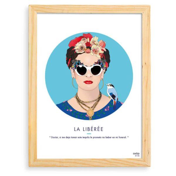 Affiche Frida Kahlo Bleu / Citation avec cadre