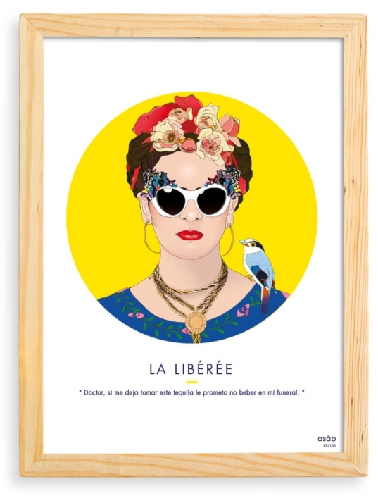 Affiche ASAP Frida Kahlo Jaune Citation Cadre brut