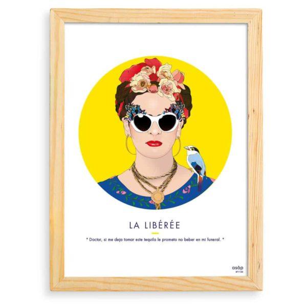 Affiche Frida Kahlo Jaune / Citation avec cadre
