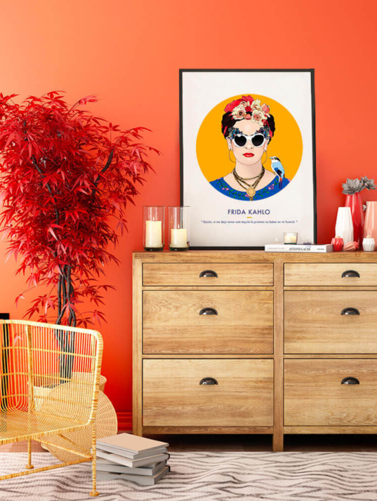 Décoration asap Frida Kahlo citation orange