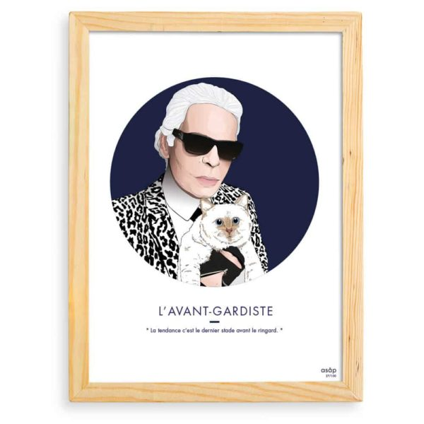 Affiche ASAP Karl Lagerfeld & Choupette Bleu Citation Cadre brut