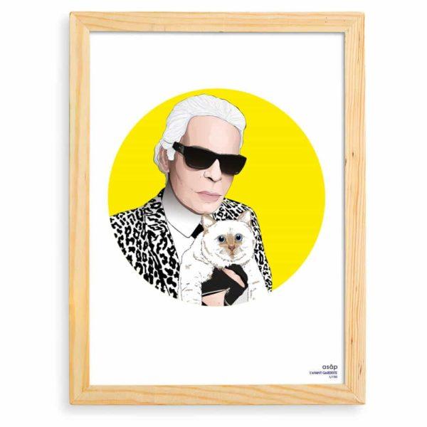 Affiche ASAP Karl Lagerfeld & Choupette Jaune Pur Cadre brut