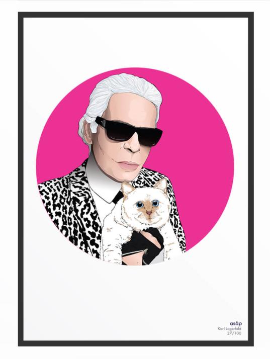 Portrait asap Karl Lagerfeld pur fuchsia