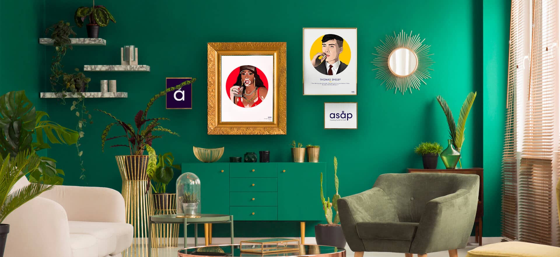 Décoration salon portraits illustration asap