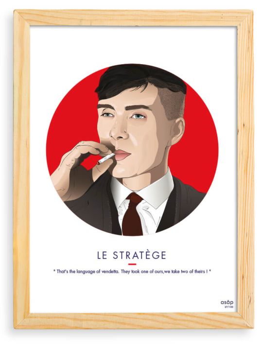 Affiche ASAP Thomas Shelby Rouge Citation Cadre brut