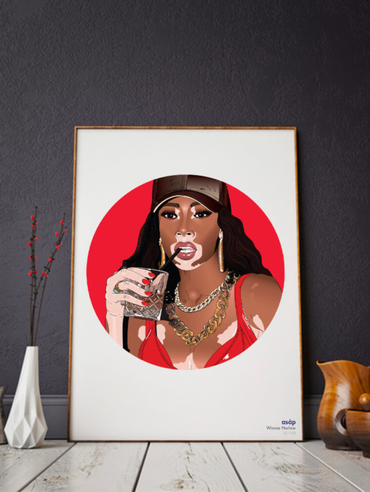 Décoration asap Winnie Harlow pur rouge
