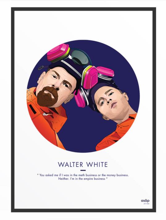 Portrait asap Walter White citation bleu nuit