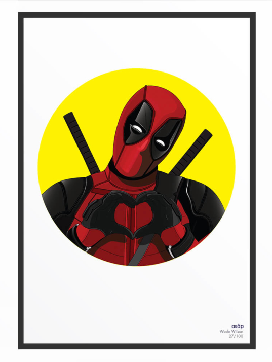Portrait asap Deadpool pur jaune