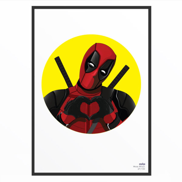 Portrait asap Deadpool pur jaune
