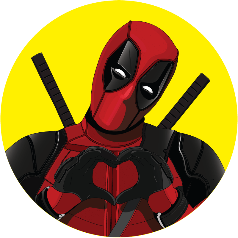 Portrait illustration asap Deadpool coeur