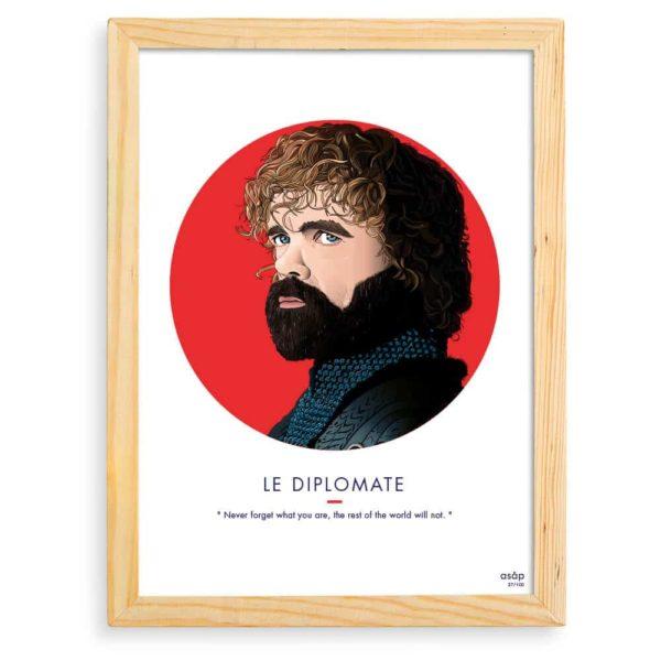 Affiche ASAP Tyrion Lannister Rouge Citation Cadre brut