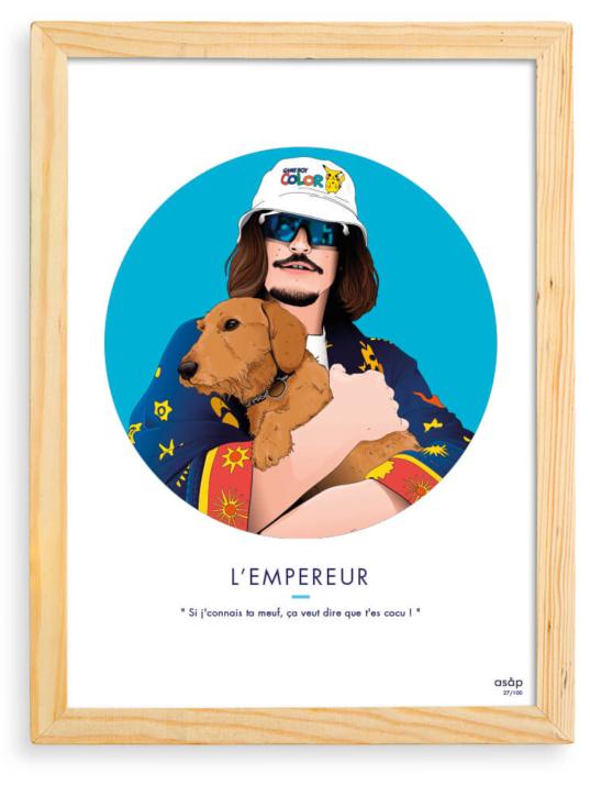 Affiche ASAP Lorenzo rappeur Bleu Citation Cadre brut