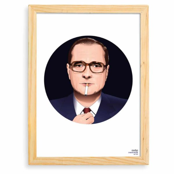 Affiche Jacques Chirac Noir / Pur avec cadre