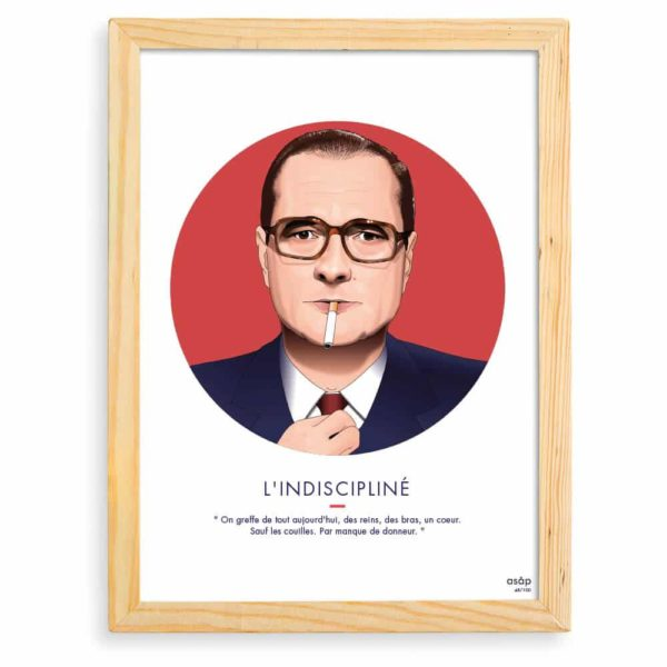 Affiche Jacques Chirac Rouge / Citation avec cadre