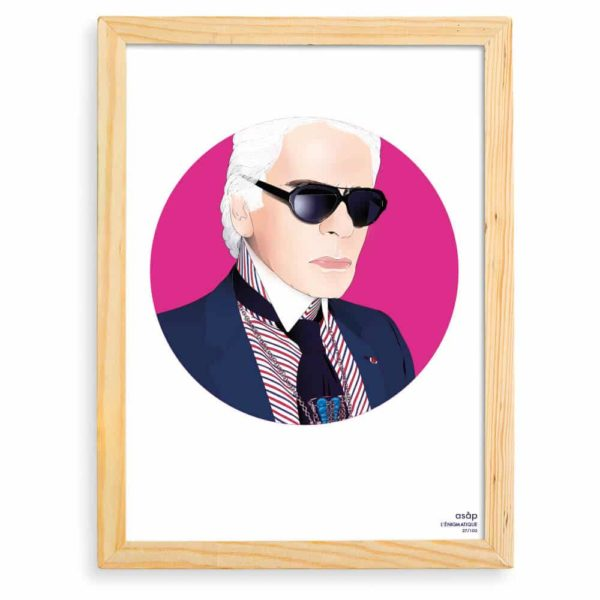 Affiche ASAP Karl Lagerfeld Rose Pur Cadre brut