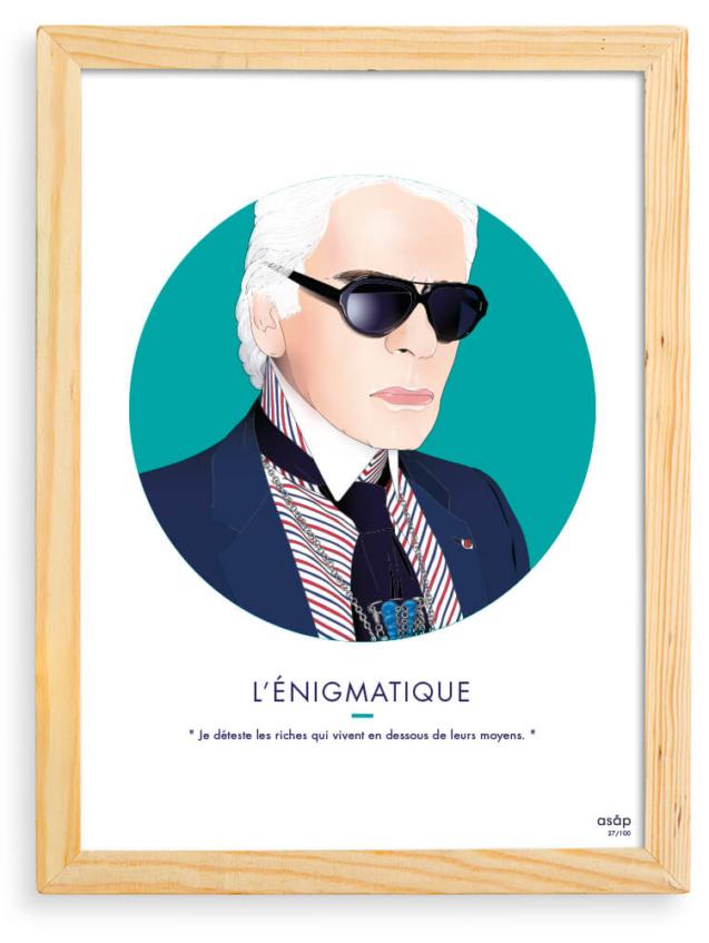 Affiche ASAP Karl Lagerfeld Vert Citation Cadre brut