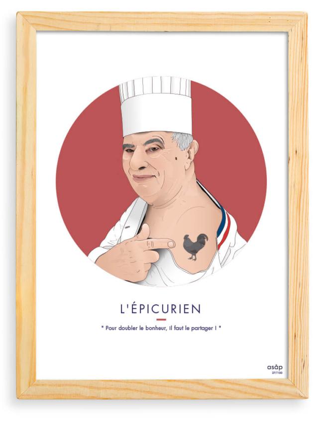 Affiche Paul Bocuse ASAP Rouge Citation Cadre brut