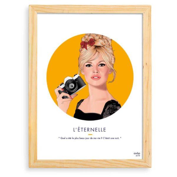 Affiche ASAP Brigitte Bardot Jaune Citation Cadre brut