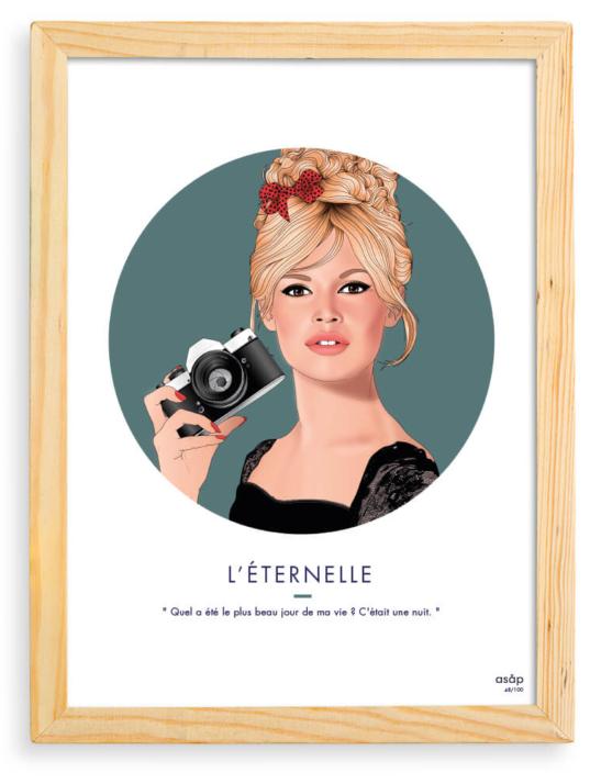 Affiche ASAP Brigitte Bardot Vert Citation Cadre brut