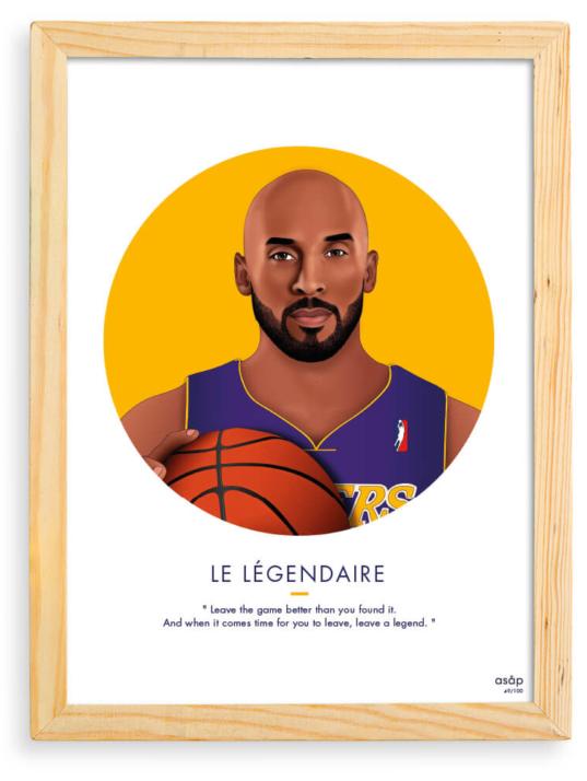 Affiche ASAP Kobe Bryant Jaune Citation Cadre brut