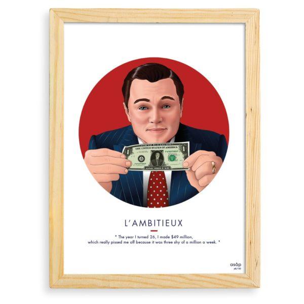 Affiche ASAP Loup de Wall Street Rouge Citation Cadre brut