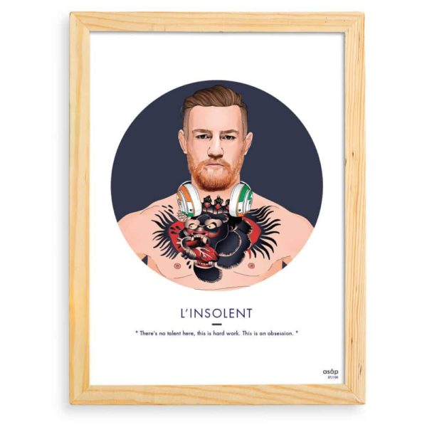 Affiche Conor McGregor MMA UFC Bleu / Citation avec cadre