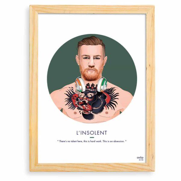 Affiche Conor McGregor MMA UFC Vert / Citation avec cadre