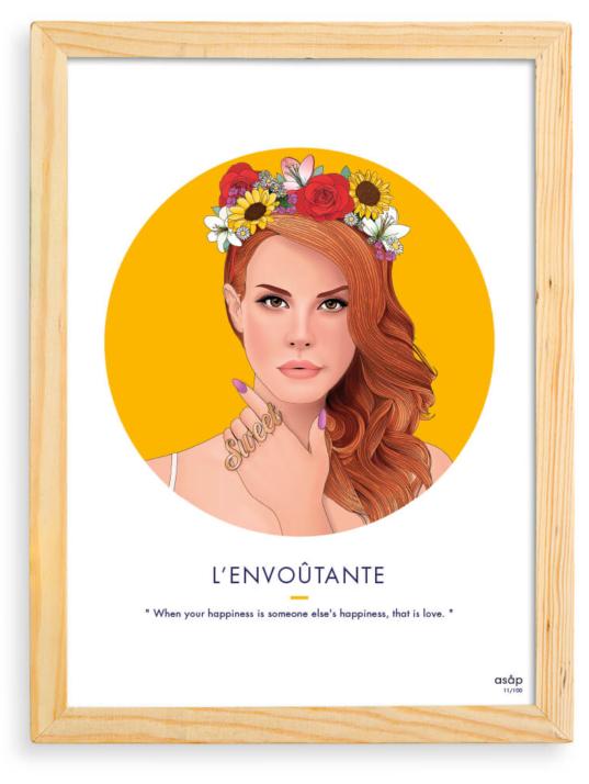 Affiche ASAP Lana Del Rey Jaune Citation Cadre brut