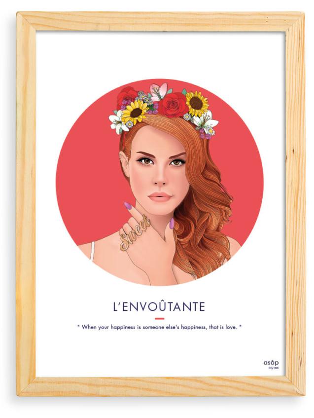 Affiche ASAP Lana Del Rey Rouge Citation Cadre brut