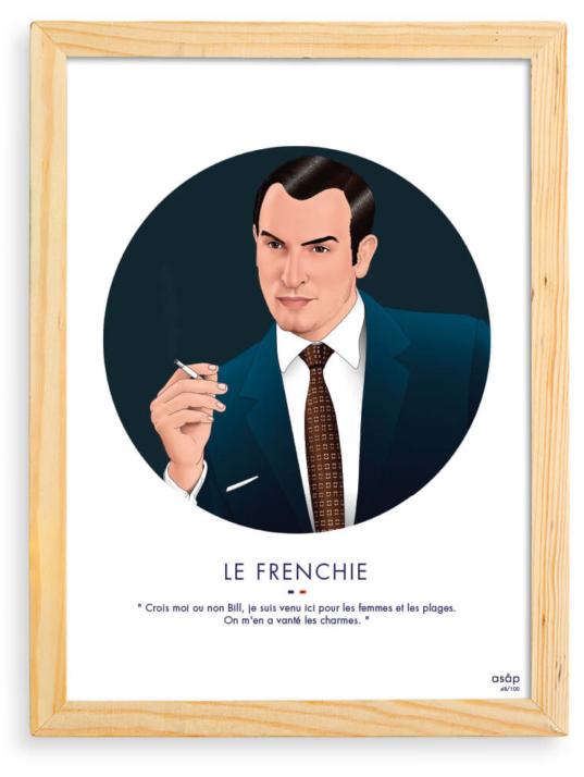Affiche ASAP OSS 117 Jean Dujardin Gris Citation Cadre brut