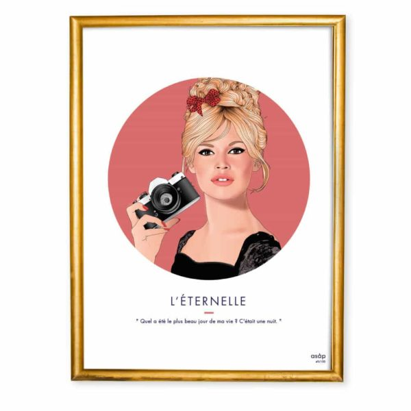 Affiche ASAP Brigitte Bardot Rose Citation Cadre doré