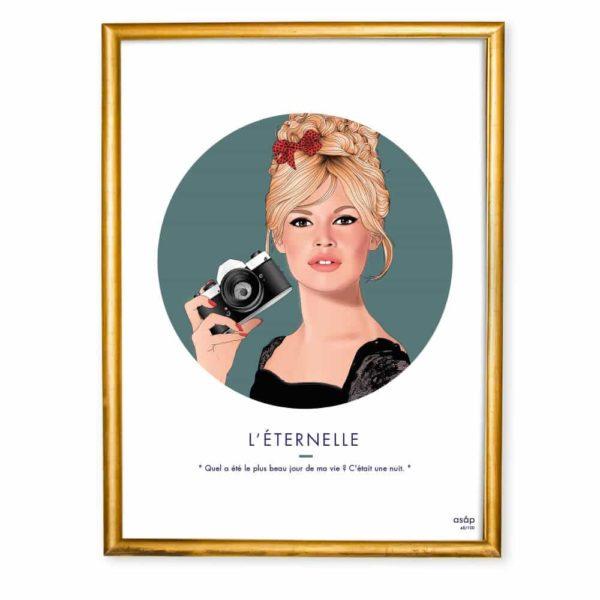 Affiche ASAP Brigitte Bardot Verrt Citation Cadre doré
