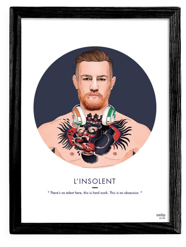 Affiche ASAP Conor McGregor MMA UFC Bleu Citation Cadre noir