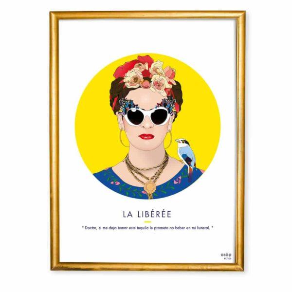 Affiche ASAP Frida Kahlo Jaune Citation Cadre doré