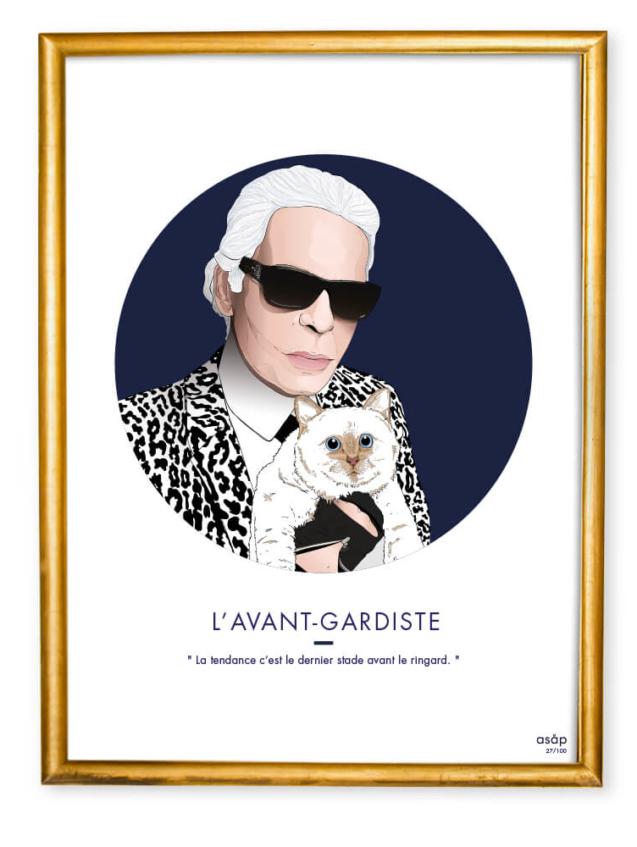 Affiche ASAP Karl Lagerfeld & Choupette Bleu Citation Cadre doré