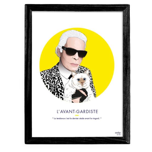 Affiche ASAP Karl Lagerfeld & Choupette Jaune Citation Cadre noir