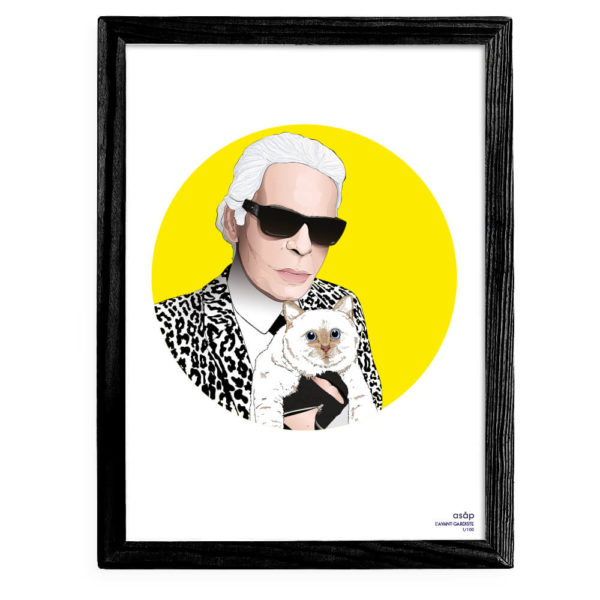 Affiche ASAP Karl Lagerfeld & Choupette Jaune Pur Cadre noir