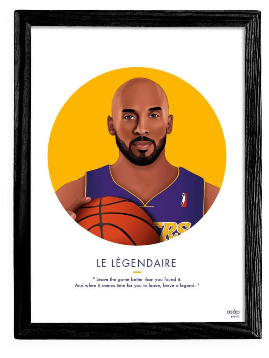 Affiche ASAP Kobe Bryant Jaune Citation Cadre noir