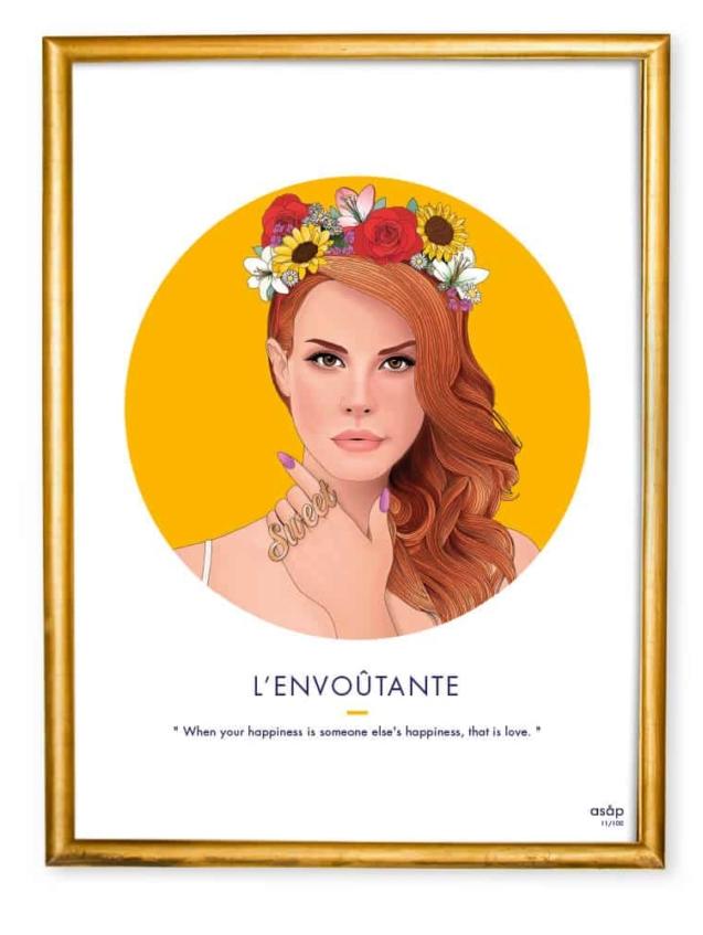 Affiche ASAP Lana Del Rey Jaune Citation Cadre doré