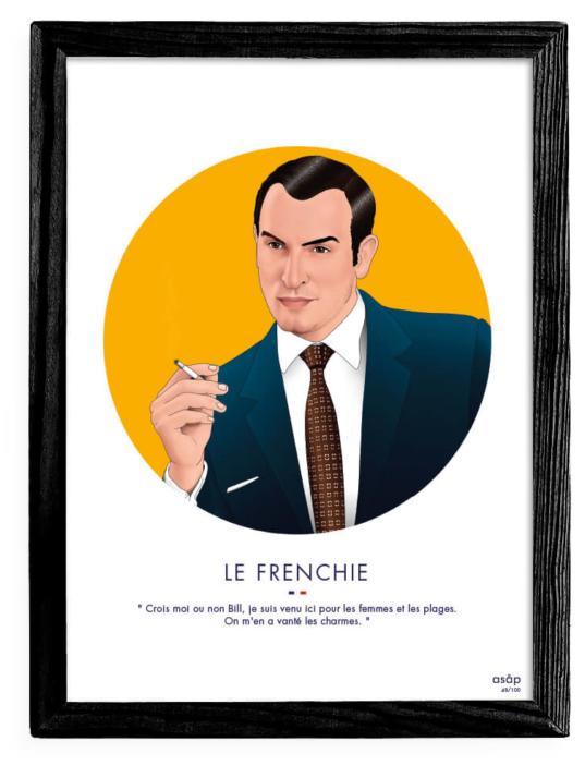 Affiche ASAP OSS 117 Jean Dujardin Jaune Citation Cadre noir
