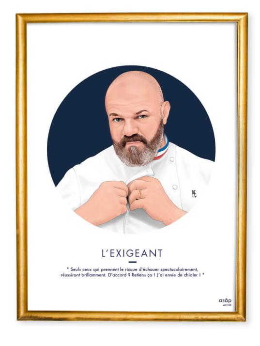 Affiche ASAP Philippe Etchebest Bleu Citation Cadre doré