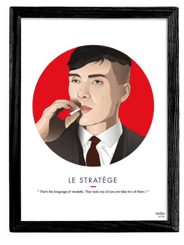 Affiche ASAP Thomas Shelby Rouge Citation Cadre noir